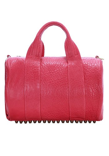 Alexa Duffle Studded Calfskin Pink Leather Bag