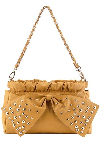 Kate M Studded Small Yellow Shoulder Bag
