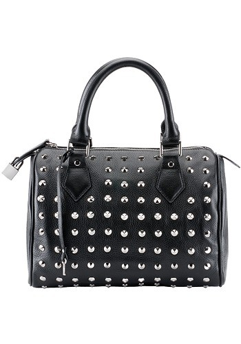Melrose Glam Anarchy Studded Calfskin Black Leather Bag