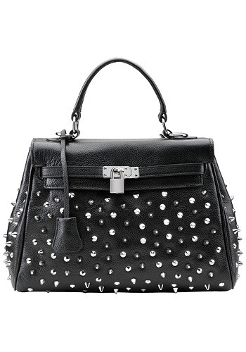 Melrose Glam Kellia Studded Black Leather Bag