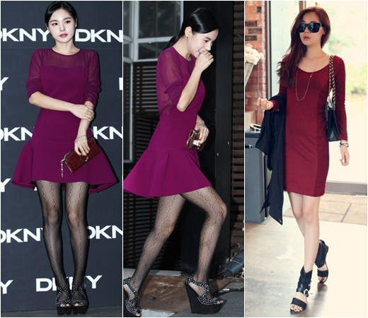 Min hyo rin krystal and victoria s battle of legs dresses for dkny