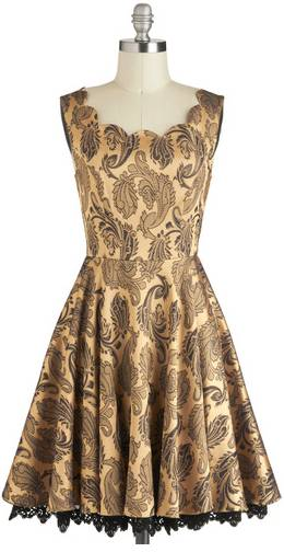 Black and Gold Brocade Party Dress