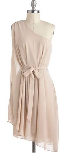 Champagne Chiffon One-Shoulder Dress