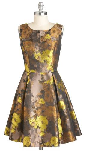 Floral Taupe A-Line Dress