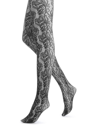 HUE Black Lace Foral Tights