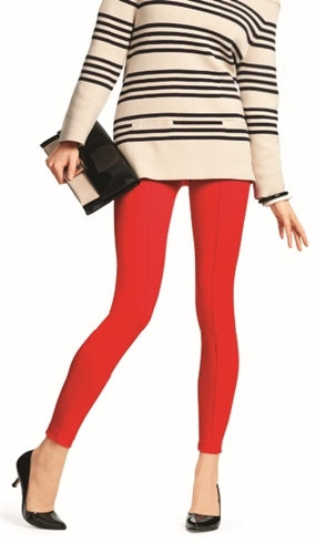 HUE Fiery Red Knit Leggings