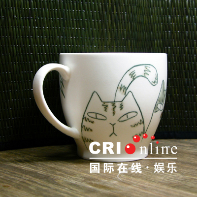 Porcelain Cups With Cat Design | Korean Fashion Lifestyle Items